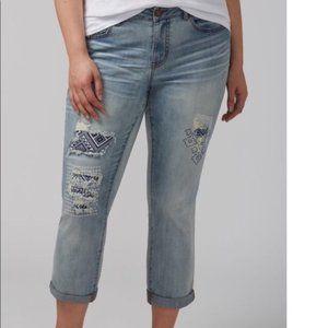 LANE BRYANT Distressed Patch Stretch Capri Jeans